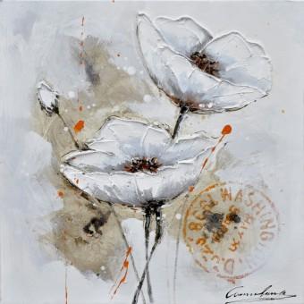 Canvas dubbele bloem