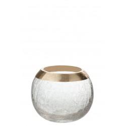 Kaarsenhouder bol, craquele glas gouden rand