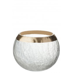 Kaarsenhouder bol, craquele glas met gouden rand